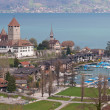 Spiez Church with Lake of Thun Switzerland top view - Stock Photo