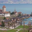 Spiez Church with Lake of Thun Switzerland top view - Stok fotoğraf