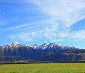 Snow mountain of southern alpine alps in New Zealand with sunny — Stock Photo