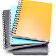 Stack of hard cover ring binding note book — Stock Photo