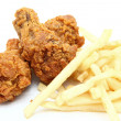 Fried chicken with french fries — Stock Photo