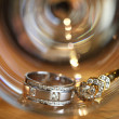 Couples of platinum diamond wedding rings — Stock Photo