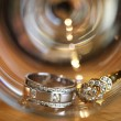 Stock Photo: Couples of platinum diamond wedding rings