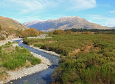 Curve river to Southern alpine alps mountain at Arthur's Pass Na — Stock Photo