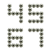 Letter Number 4 5 6 7 made from grunge scratch football isolated — Stock Photo