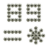 Number 8 9 and symbols made from grunge scratch football isolated on white — Stock Photo