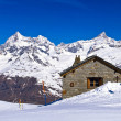 Panoramic view of Swiss alps with Train Station located at Gorne — Stock Photo #12875045