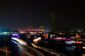 Colorful river with light trail from ship over Chao Phraya River — Stock Photo