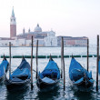 goldola boat parking in lagoo of grand canal venice italy — Stock Photo