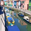 Colorful buildings in main canal Burano island, Venice Italy - Stock Photo