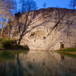 Dying lion monument in Lucern Switzerland at dusk — Stock Photo