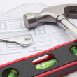 Stock Photo: Construction tools with house blueprint