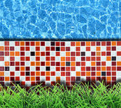Modern stone pavement with pool background — Stock Photo