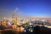 Bangkok Skyline Aerial view at dusk — Stock Photo