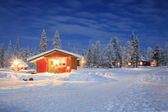 Winter landscape at Night Lapland Sweden — Stock Photo