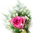 Natural pink rose corsage, vertical — Stock Photo