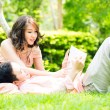 Royalty-Free Stock Photo: Couple relax ingarden