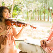 Woman playing violin with her boyfriend — Stock Photo #26247787