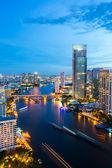 Bangkok Skyline downtown River — Stock Photo