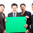 Business team with banner — Stock Photo