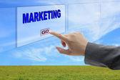 Man hand push marketing — Stock Photo