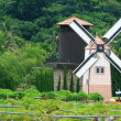 Historic windmill on the Fields at Pattaya, Thailand — Stock Photo