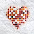 Vintage burnt paper in red mosaic heart — Stock Photo