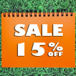 15 percentage Sale sign on grass background — Stock Photo
