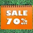 70 percentage Sale sign on grass background — Stock Photo
