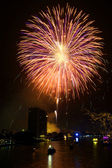 Yellow and violet firework over Chaophraya river Bangkok on Fath — Stock Photo