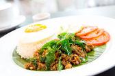 Fried pork basil Rice — Photo