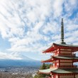 Red pagoda with Mountain Fuji Japan — Stock Photo
