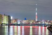 東京スカイツリー夜 — ストック写真
