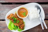 Deep fried pork with rice — Stockfoto