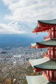 Red pagoda with Mountain Fuji Japan — Stock Photo