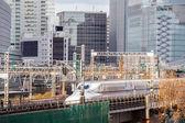 Railway with skyline Ginza Tokyo — Stock Photo