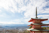Red pagoda with Mountain Fuji landscape — Stock Photo