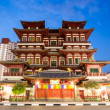Singapore buddhtooth relic temple at dusk — Stock Photo #41477359