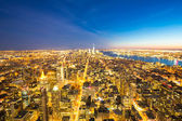 New York City skyline dusk — Stock Photo