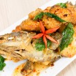 Sweet and sour spicy sauce grouper fish — Stock Photo
