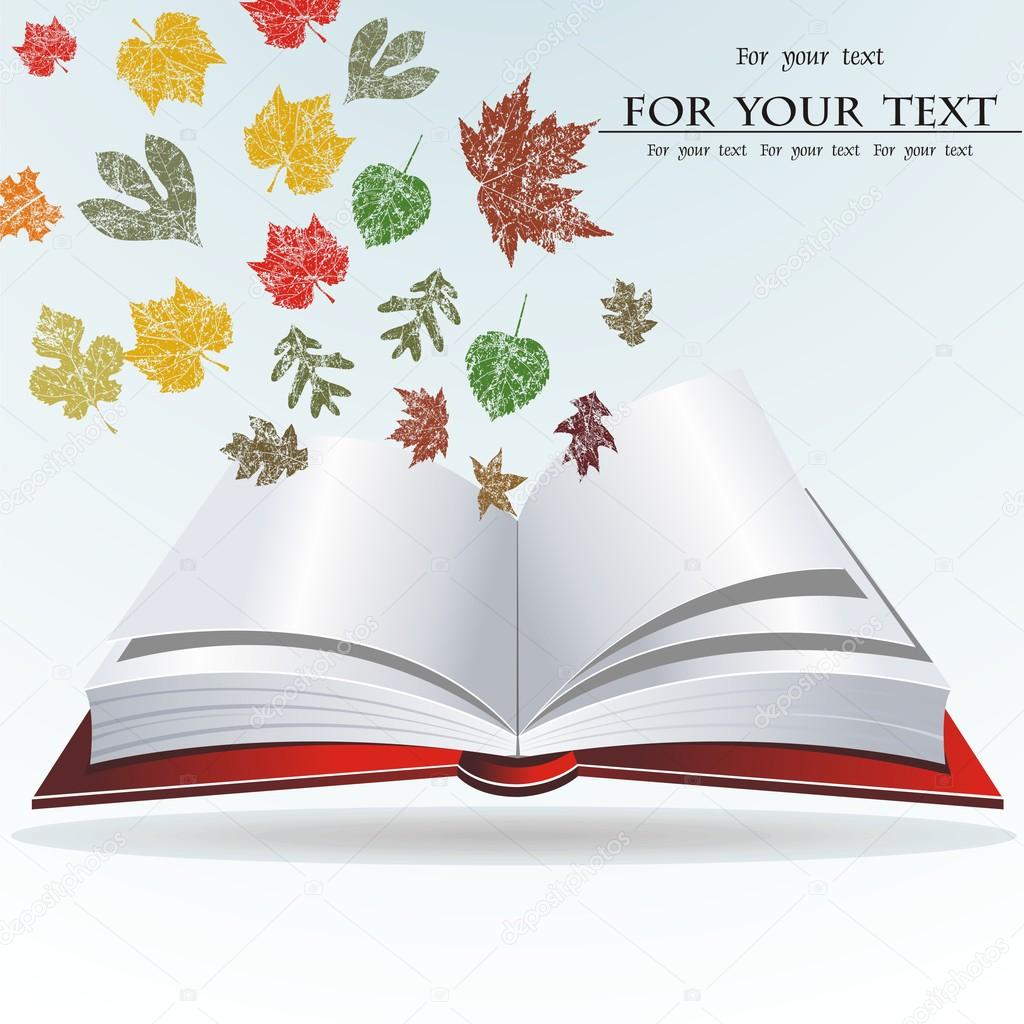 Grunge background with old book and autumn leaves — Vektorgrafik #12656453