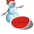 Royalty-Free Stock Vector Image: Paper snowman tag on paper