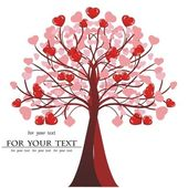 Valentine tree vector, heart. — Stock Vector