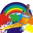 Brush with rainbow line. Abstract background. Vector illustration. — Stock Vector