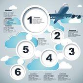 Vector propaganda bolhas com avião — Vetor de Stock