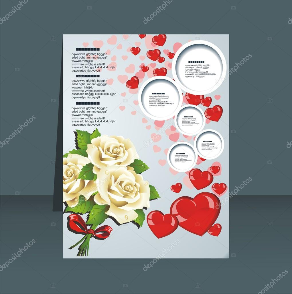 Vector greeting card with flowers and heart on a striped background  Stock Vector #17818529