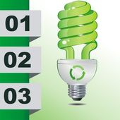 Hands holding green ecology light bulb, vector icon illustration — Vector de stock