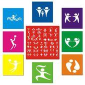 Symboler för sommar sport ikoner vektor illustration — Stockvektor