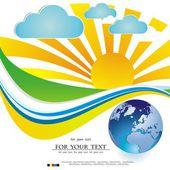 Vector illustration of the sun earth seasons — Stock Vector