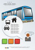 Transtime the bus on paper a background. Vector illustration. — Stock Vector